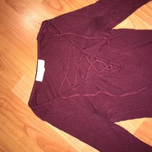 Urban Outfitters maroon lace up shirt!